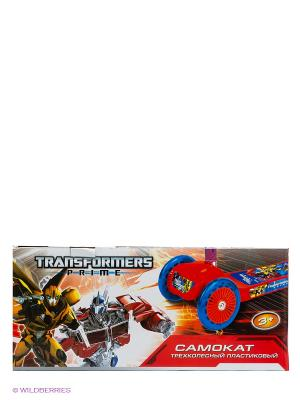 Самокат Трансформеры  3-х колесный Transformers. Цвет: красный