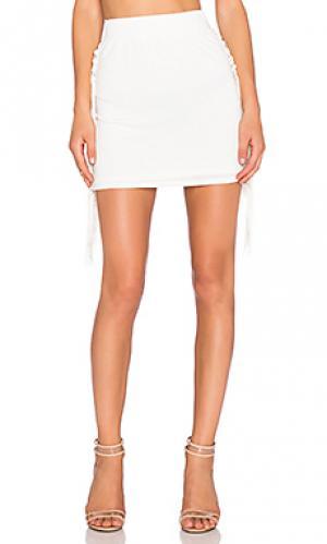 Мини-юбка с бахромой T-Bags LosAngeles. Цвет: ivory