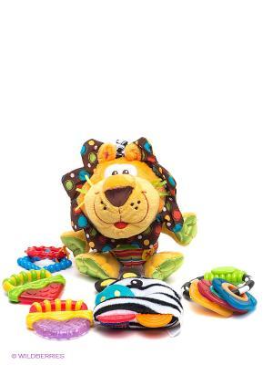 Игровой набор Львенок Playgro. Цвет: коричневый, голубой, желтый
