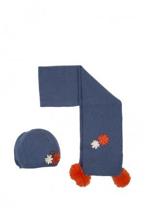Комплект шапка и шарф Tutto Piccolo. Цвет: синий