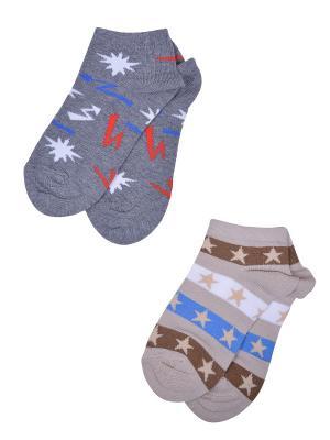 Носки, 2 пары Skinija. Цвет: серый, бежевый