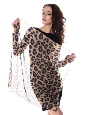 Платок шифон леопард SEANNA. Цвет: коричневый