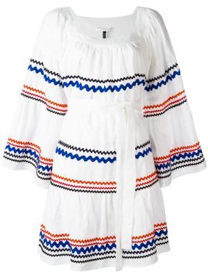 Платье с контрастными полосками Lisa Marie Fernandez. Цвет: белый