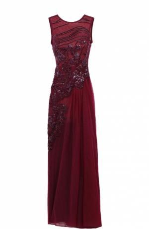Приталенное платье-макси с открытой спиной и декоративной отделкой Elie Saab. Цвет: бордовый