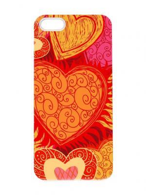 Чехол для iPhone 5/5s Рыжие сердца Chocopony. Цвет: красный, светло-оранжевый