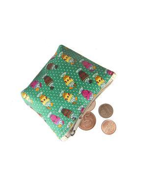 Кошелек для монет Кажан. Цвет: зеленый, желтый, коричневый