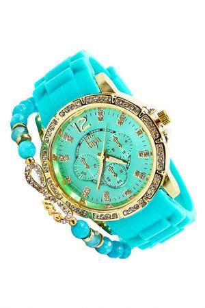 Набор: часы, браслет Taya. Цвет: золотистый, зеленый