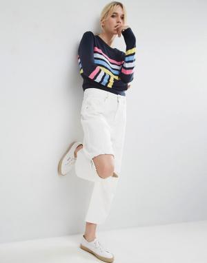 ASOS Укороченные расклешенные джинсы с оборками на коленях. Цвет: белый