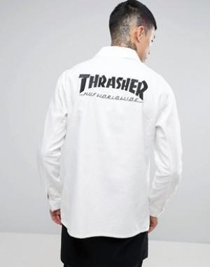HUF Куртка x Thrasher Chore. Цвет: белый