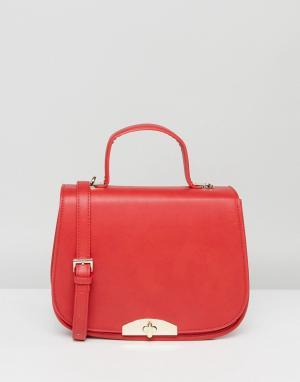 Marc B Красная сумка-седло с ручкой и съемным ремешком через плечо. Цвет: красный