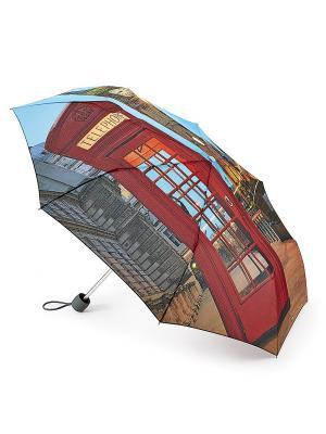 L354-3348 LondonScene (Лондон) Зонт женский механика Fulton, Fulton. Цвет: красный