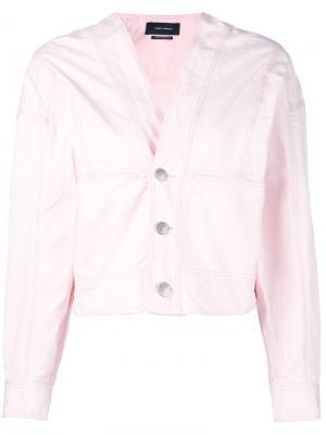 Джинсовая куртка с V-образным вырезом Isabel Marant. Цвет: розовый и фиолетовый