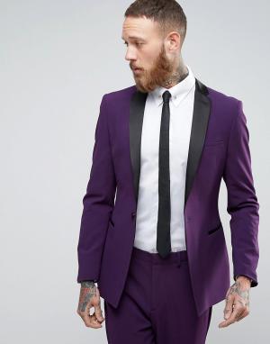 ASOS Фиолетовые супероблегающий пиджак-смокинг с атласными лацканами. Цвет: фиолетовый