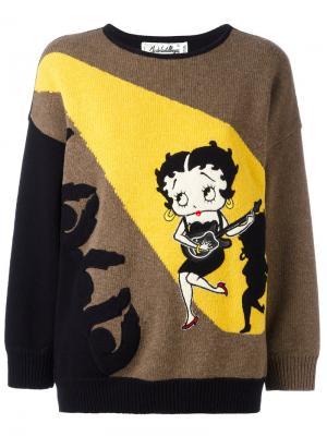Betty Boop intarsia sweater Jc De Castelbajac Vintage. Цвет: коричневый
