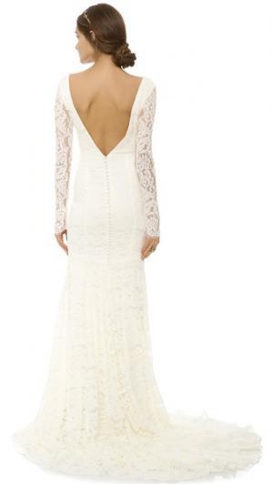 Кружевное вечернее платье Nicole Theia. Цвет: золотой