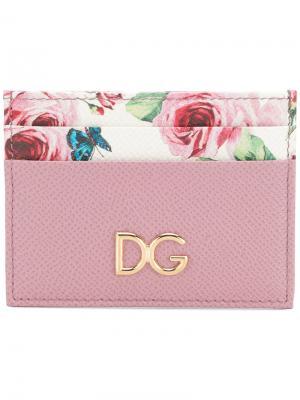 Визитница с принтом роз Dolce & Gabbana. Цвет: розовый и фиолетовый