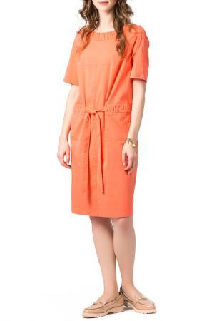 Свободное платье с поясом Helmidge. Цвет: оранжевый