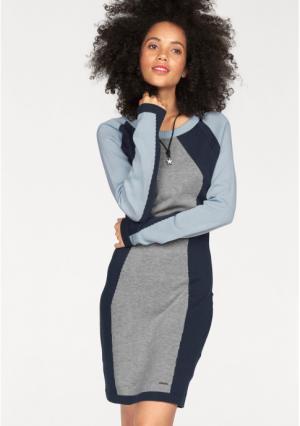 Платье Kangaroos. Цвет: серый меланжевый/темно-синий/голубой