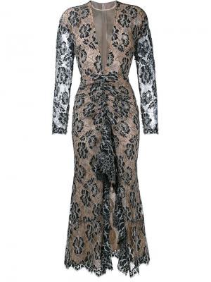 Кружевное платье с длинным рукавом Alessandra Rich. Цвет: чёрный