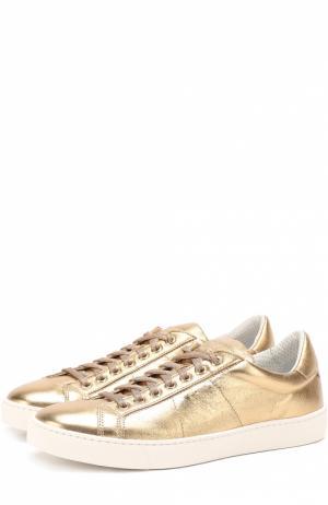 Кеды из металлизированной кожи на шнуровке Santoni. Цвет: золотой