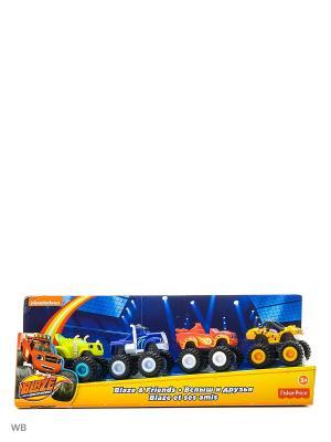 Вспыш и друзья: упаковка из 4-х пластиковых машинок Mattel. Цвет: синий