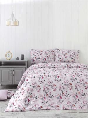 Комплект постельного белья JASMINE ранфорс, 140ТС, 100% хлопок, евро ISSIMO Home. Цвет: розовый