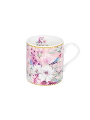 Кружка - подарок Птица в цветах Elan Gallery. Цвет: голубой, белый, розовый