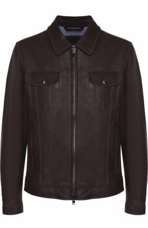 Кожаная куртка на молнии с отложным воротником Z Zegna. Цвет: темно-коричневый