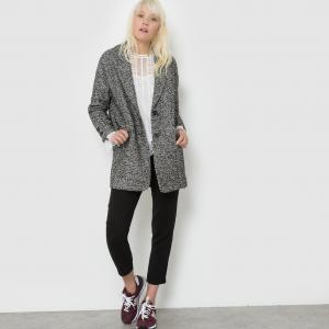 Пальто из ткани меланж SUNCOO. Цвет: черный меланж