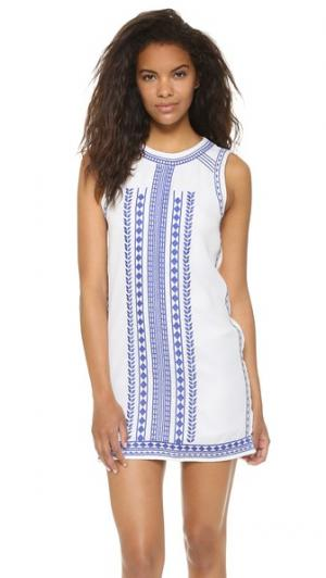 Мини-платье с вышивкой ENGLISH FACTORY. Цвет: оттенок белого/темно-синий