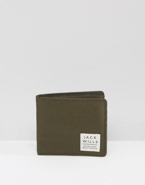 Jack Wills Зеленый бумажник. Цвет: зеленый
