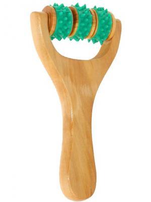Массажёр деревянный универсальный Ручка с шипами, зеленый Радужки. Цвет: бежевый