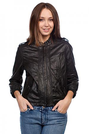 Куртка кожаная женская  Button Pocket Black Converse. Цвет: черный