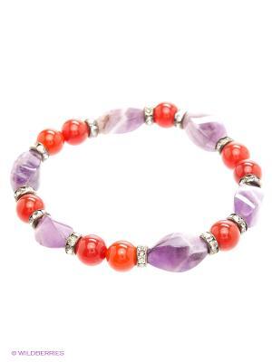 Браслет Красота Природы. Цвет: красный, серебристый, сиреневый, фиолетовый