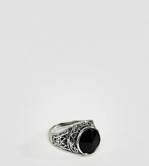 DesignB London Кольцо-печатка с черным камнем эксклюзивно для ASOS. Цвет: серебряный