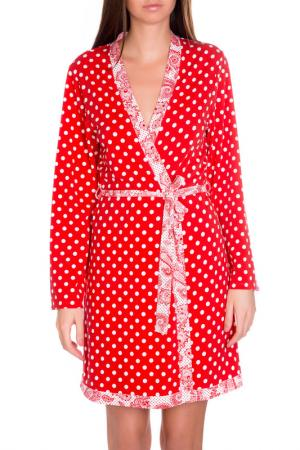 Халат-кимоно короткий Rose&Petal Homewear. Цвет: принт белый горошек