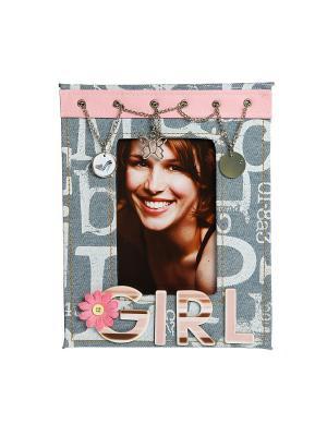 Фоторамка из ткани HomeMaster. Цвет: голубой, розовый, белый