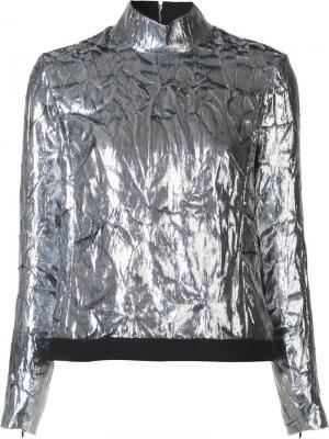 Блузка с отворотной горловиной на молнии Delpozo. Цвет: металлический