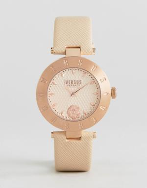 Versus Versace Часы с кожаным ремешком и логотипом S7714. Цвет: бежевый