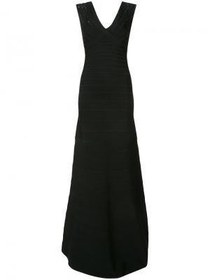 Платье с пайетками открытой спиной Hervé Léger. Цвет: чёрный