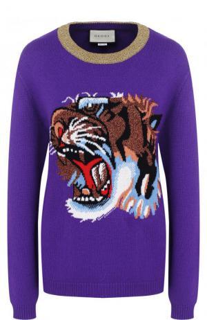 Шерстяной пуловер с круглым вырезом и вышивкой Gucci. Цвет: фиолетовый