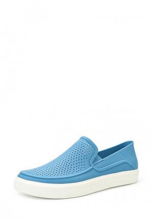 Слипоны Crocs. Цвет: голубой