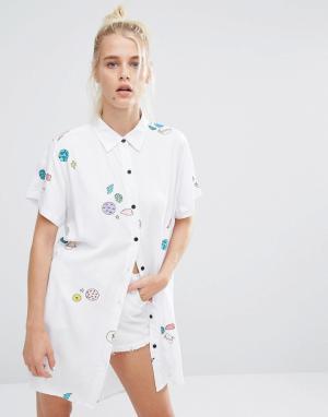 Lazy Oaf Oversize-рубашка с принтом планет и космоса. Цвет: белый