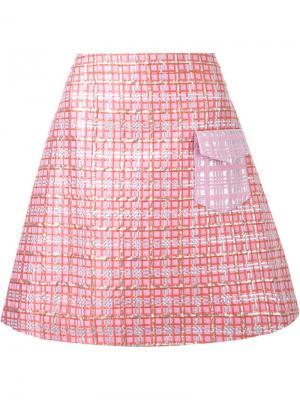 Юбка А-образного кроя Ingie Paris. Цвет: розовый и фиолетовый