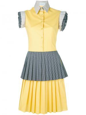 Платье с плиссировкой и оборками Daizy Shely. Цвет: жёлтый и оранжевый