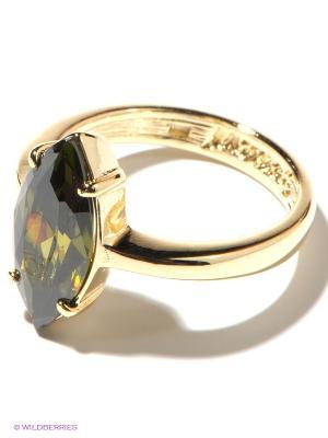 Кольцо Jenavi. Цвет: темно-зеленый, золотистый