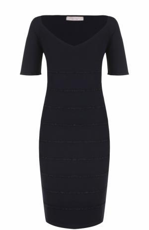 Платье-миди с вышивкой и V-образным вырезом D.Exterior. Цвет: темно-синий