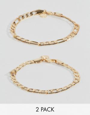 Chained & Able Набор из 2 золотистых браслетов Royal. Цвет: золотой