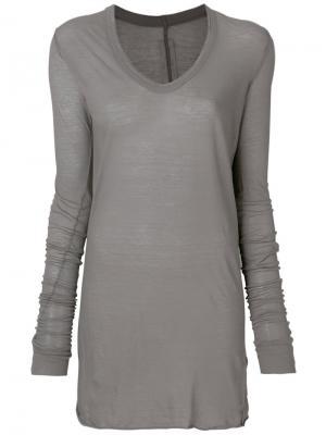 Платье-футболка с длинными рукавами Rick Owens. Цвет: серый