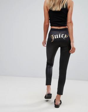 Juicy Couture Леггинсы с логотипом Gothic. Цвет: черный